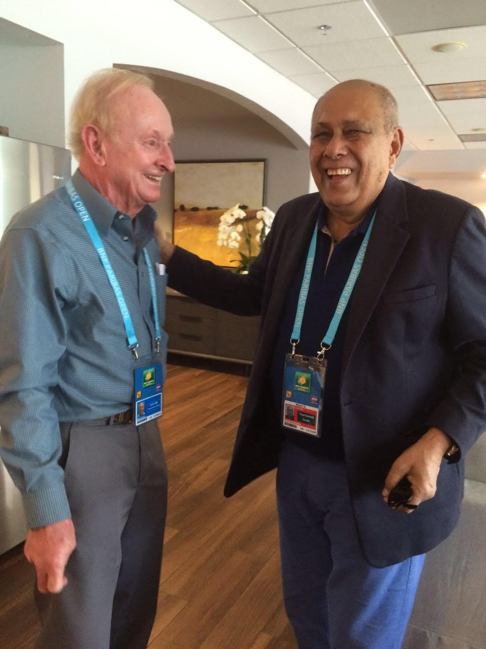 With 'Rocket' Rod Laver in Indian Wells Masters, California